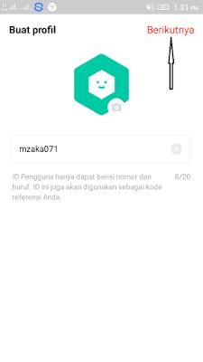membuat username di aplikasi T-GO Android