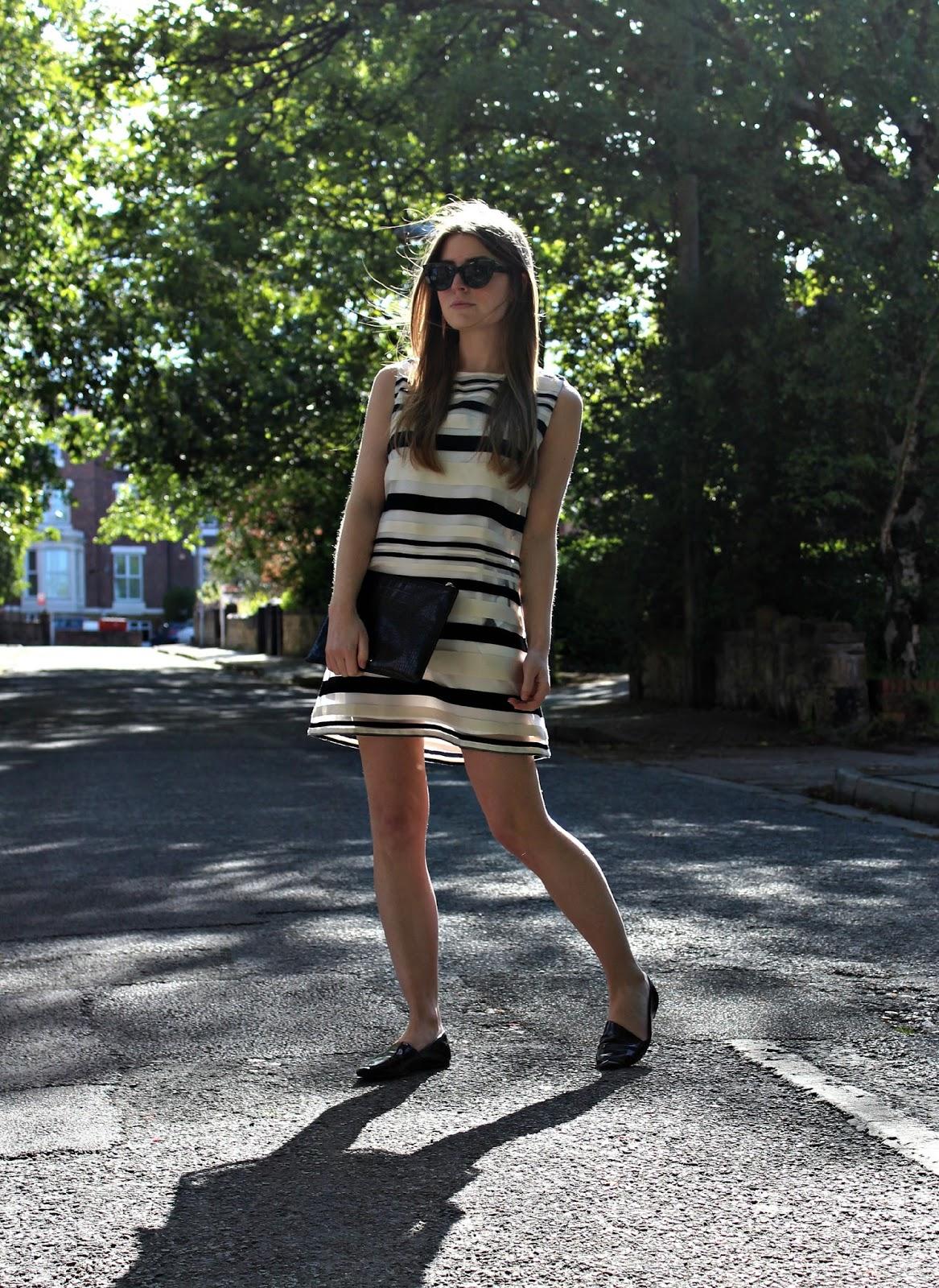 938d8cc21ac Outfit  Jovanna Striped Shift Dress. Sunglasses  ASOS