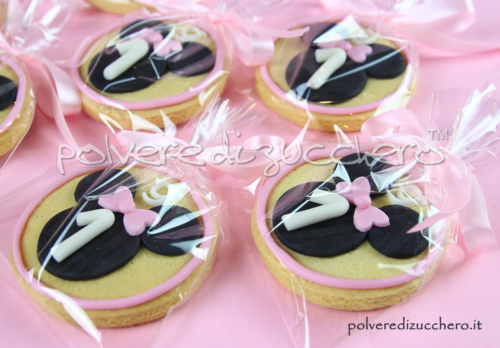 cake design biscotti decorati sugar cookies baby minnie compleanno bimba polvere di zucchero