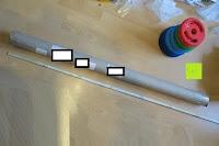 Verpackung Stange: Langhantel GEPOLSTERT inkl. Federverschluss / Gewichtsvarianten 2kg 4kg 6kg 8kg 10kg 12kg 14kg 18kg 20kg in unterschiedlichen Farben
