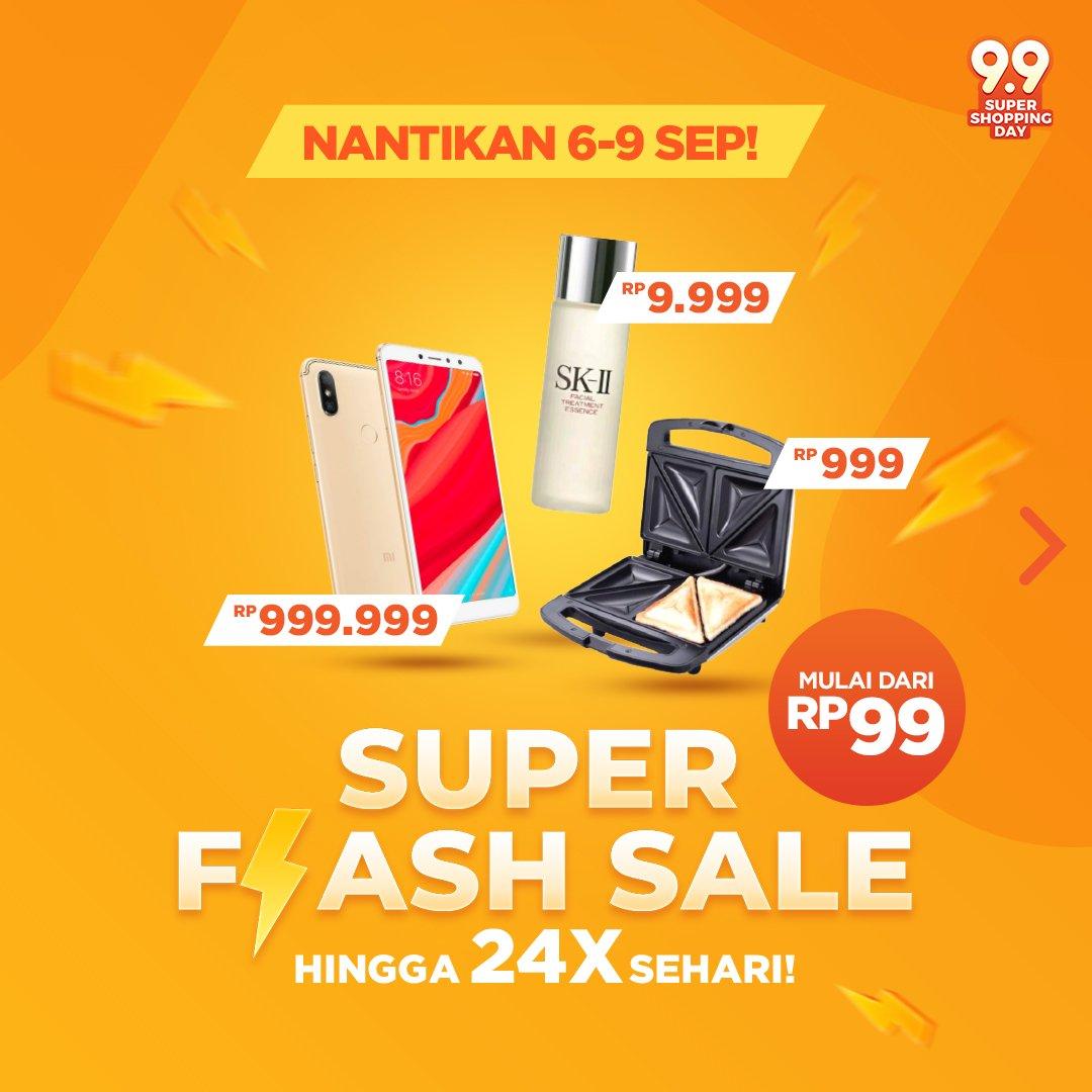 Shopee - Promo Flash Sale s.d 24 Kali Sehari Mulai dari 99 Ribu Saja ( 06 - 09 Sept 2018)