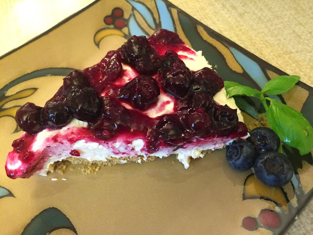 No Bake Easy Vanilla Cheesecake with Blueberry Lemon topping
