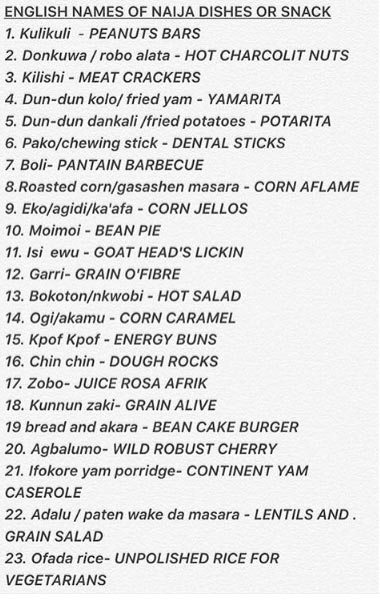 Check out the English names of garri, ofada rice, agidi and other Nigerian foods