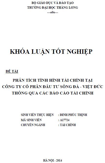 Phân tích tình hình tài chính tại Công ty Cổ phần đầu tư Sông Đà - Việt Đức thông qua các báo cáo tài chính