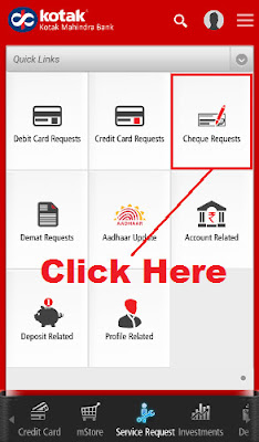 cheque book request online kotak mahindra bank