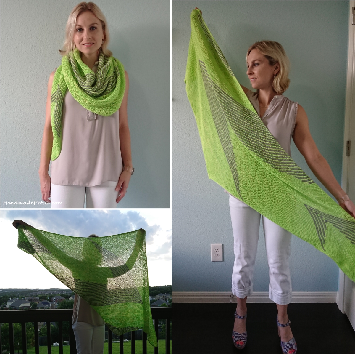 Knit shawl neon green and grey side by side pattern