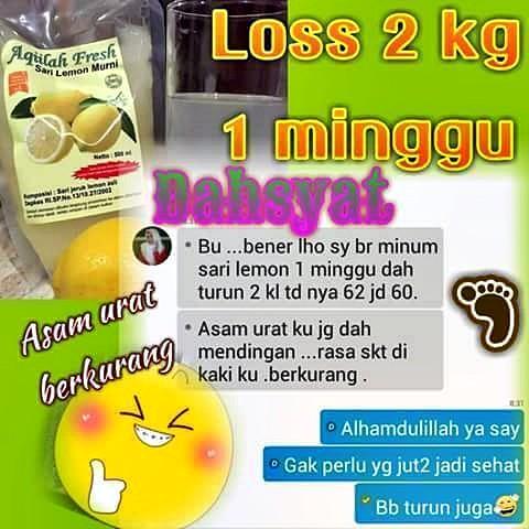 Testimoni Pengguna Sari Lemon Aqiilah Fresh - Menurunkan BB mengurangi rasa nyeri akibat asam urat
