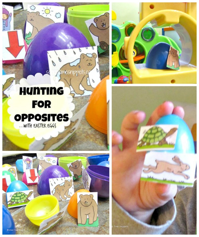 preschool literacy egg hunt for opposite pairs
