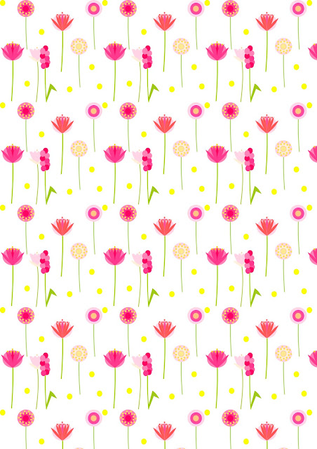 Free digital floral scrapbooking paper : pink and yellow paradise - Geschenkpapier - freebie