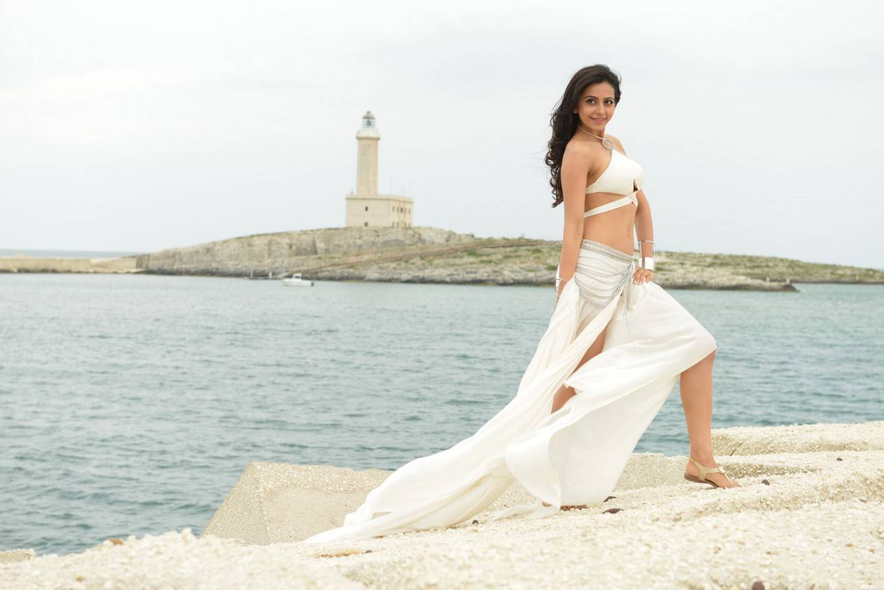 Rakul Preet Singh Stills In Hot Sexy White Dress