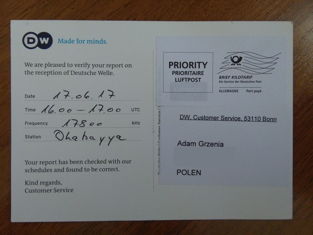 Dx Adam Swl Poland Deutsche Welle Qsl