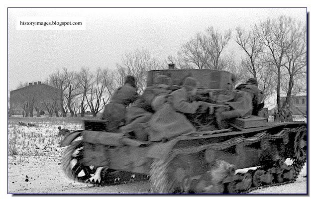 Soviet troops ride light tank battle Korsun Cherkassy