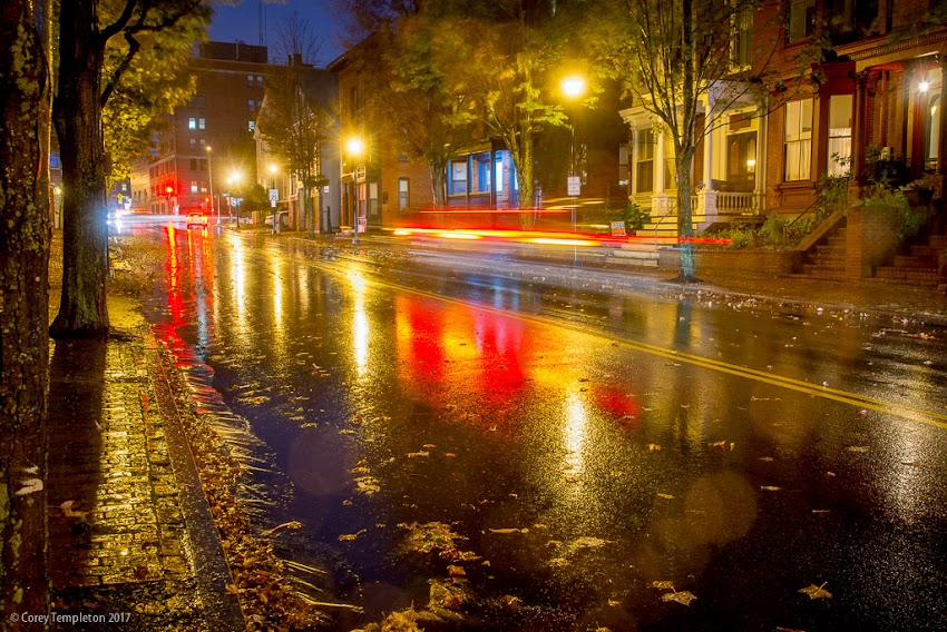 Portland, Maine USA October 2017 photo by Corey Templeton. Autumn Rainy Night on Spring Street in the West End.