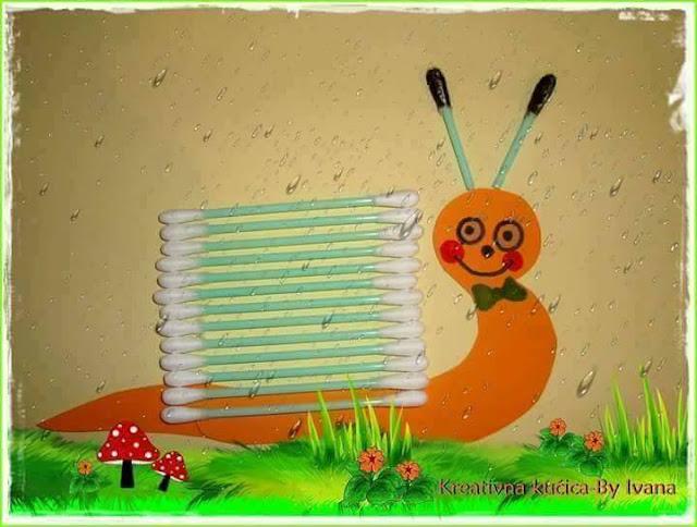 Ide membuat kreasi berbentuk siput menggunakan cottonbud untuk anak-anak