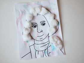George Washington Coloring Page and Cotton Ball Wig Craft