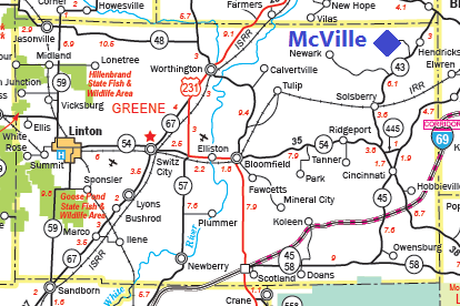 Transportation map of McVille and Greene County, Indiana