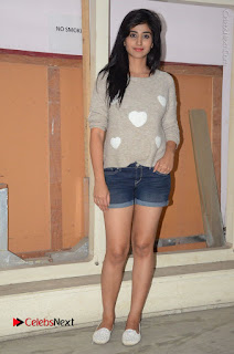 Actress Model Shamili (Varshini Sounderajan) Stills in Denim Shorts at Swachh Hyderabad Cricket Press Meet  0034.JPG