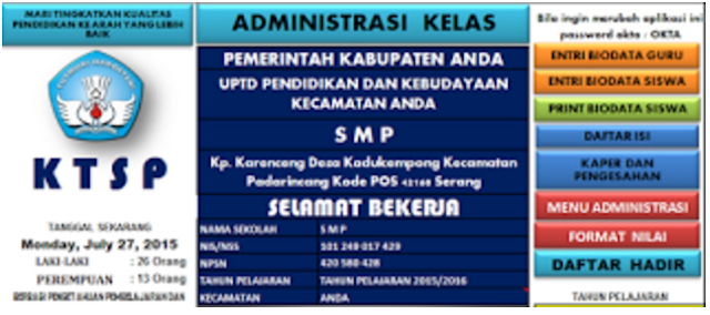 Aplikasi Administrasi Guru SMP Kurikulum KTSP Microsoft Excel