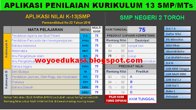 APLIKASI PENILAIAN PENDIDIKAN KURIKULUM 2013 SMP/MTs EXCEL LENGKAP