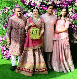 Nita Ambani and Isha Ambani At Akash Ambani Shloka Mehta Reception