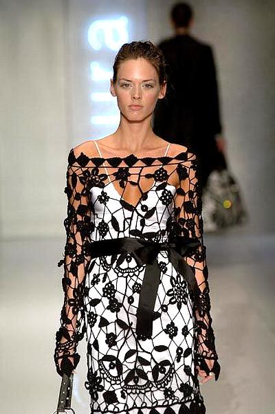 Vestido Encaje Apliques Crochet