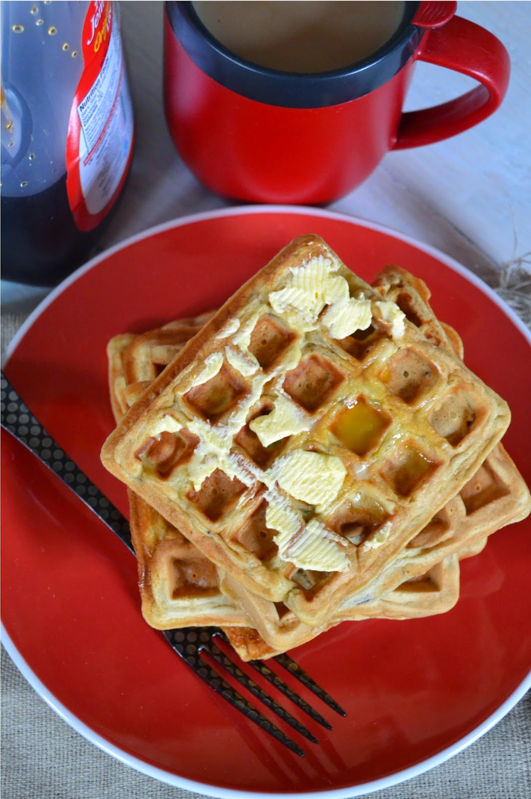 banana maple nut waffles