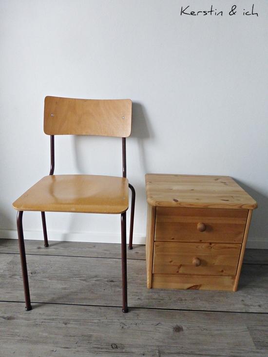 Vorher-Foto Stuhl und Kommode Streichen mit Kreidefarbe