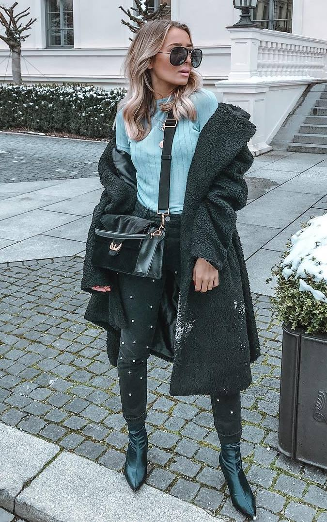 cozy fall outfit / coat + blue top + black skinnies + boots + bag