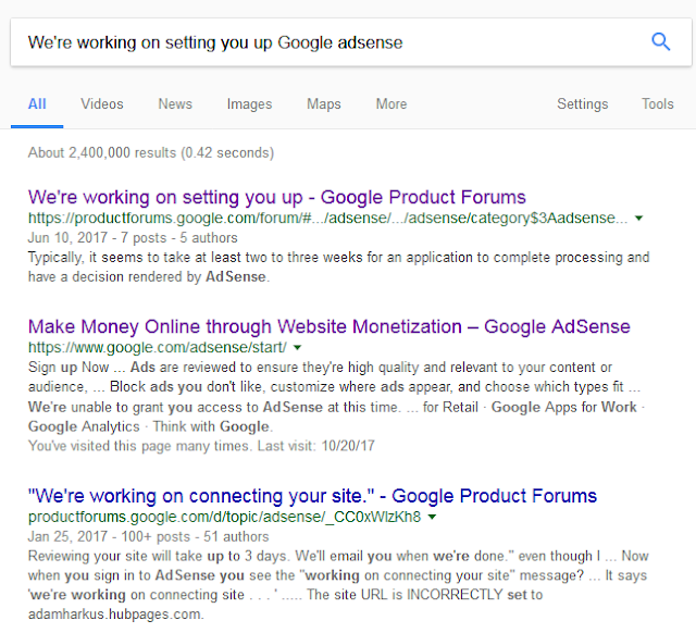 "The Google answer of keyword ""We're working on Setting You Up Google Adsense"