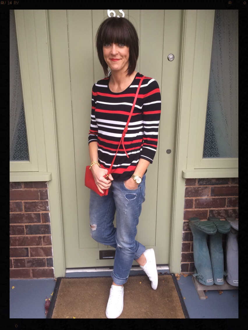 My Midlife Fashion, Breton, Stripes, Distressed denim, boyfriend jeans, ashiana, mango, zara, white trainers