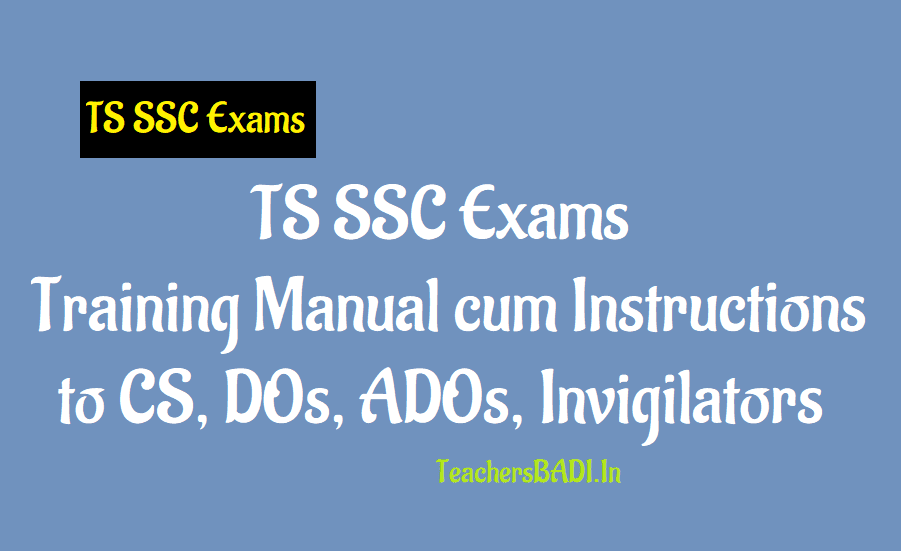 Ts Ssc 2019 Exams Training Manual Cum Instructions To Cs Dos Ados