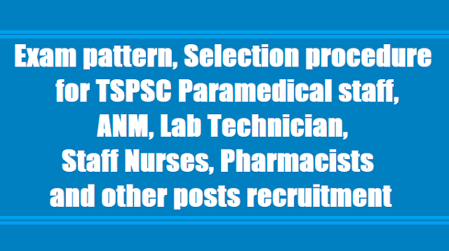 Exam pattern, Selection procedure for TSPSC Paramedical staff, ANM, Lab Technician, Staff Nurses, Pharmacists and other posts 2017