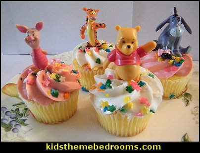 Disney Winnie the Pooh and Friends Cake Topper Cupcake Decorations  bee themed party - bumble bee decorations - Bumble Bee Party Supplies - bumble bee themed party - Pooh themed birthday party - spring themed party - bee themed party decorations - bee themed table decorations - winnie the pooh party decorations - Bumblebee Balloon -  bumble bee costumes