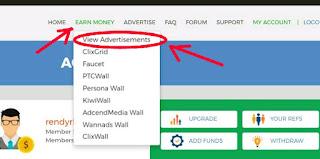 Earn money dengan view ads