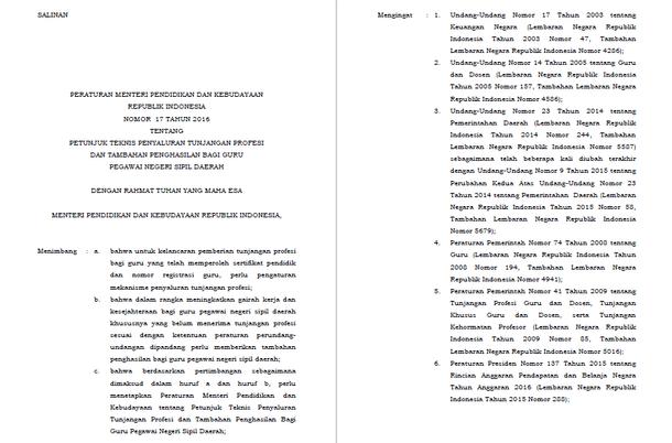 Permendikbud Nomor 17 Tahun 2016 Tentang Juknis Penyaluran TPG dan Tambahan Penghasilan Bagi PNSD