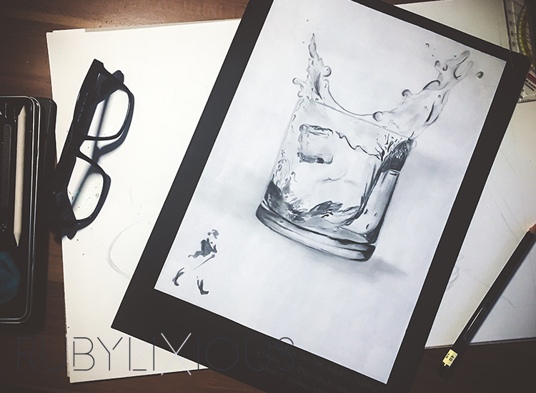 scotch on the rocks, sketch, art, pencil