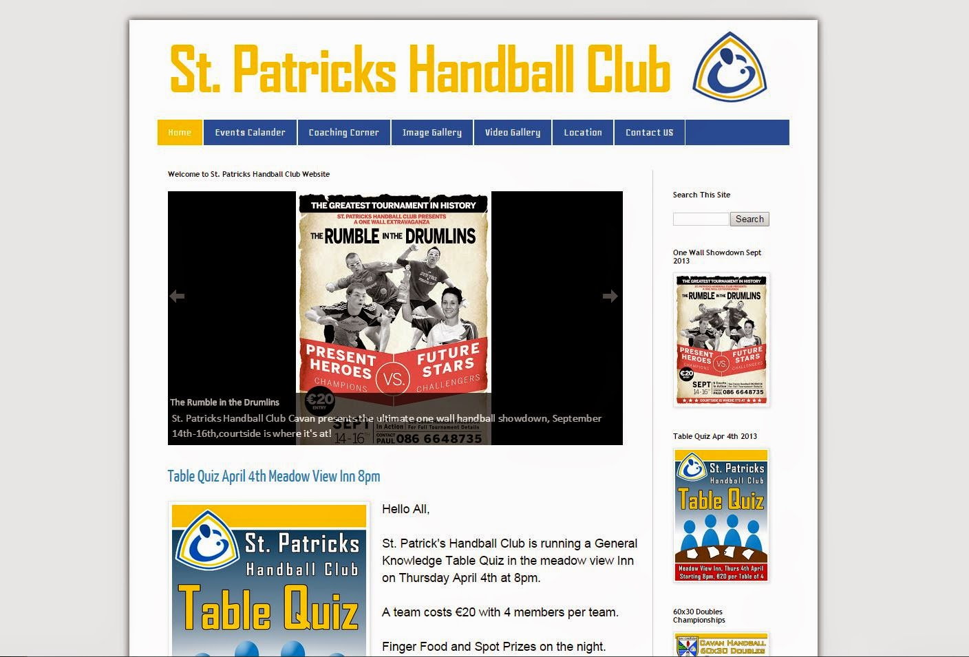 St. Patricks Handball Club Website