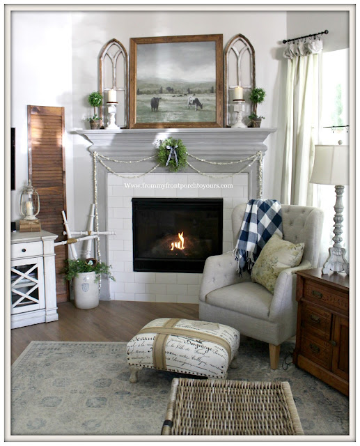 French Country Farmhouse Fireplace-Framed Cow Artwork-Sherwin Williams-Dorian Gray-Agreeable Gray-Vintage Style-French Farmhouse-Living Room-From My Front Porch To Yours