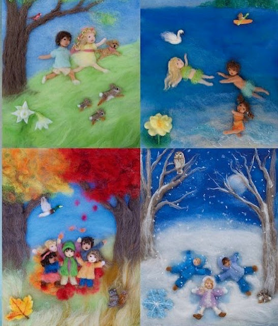 Seasons of Joy, Wool Painting Illustrations