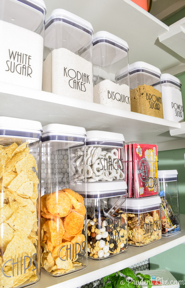 Use clear labeled bins for pantry storage