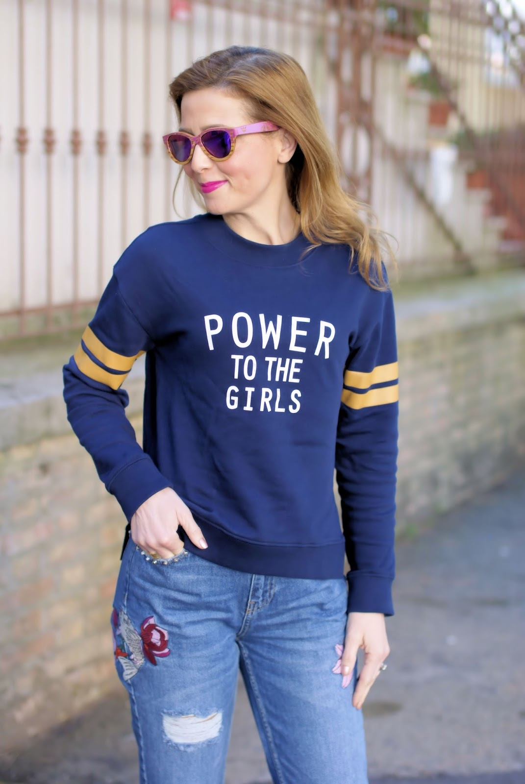 Power to the Girls and Winkwood sunglasses on Fashion and Cookies fashion blog, fashion blogger style