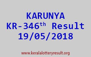 KARUNYA Lottery KR 346 Result 19-05-2018