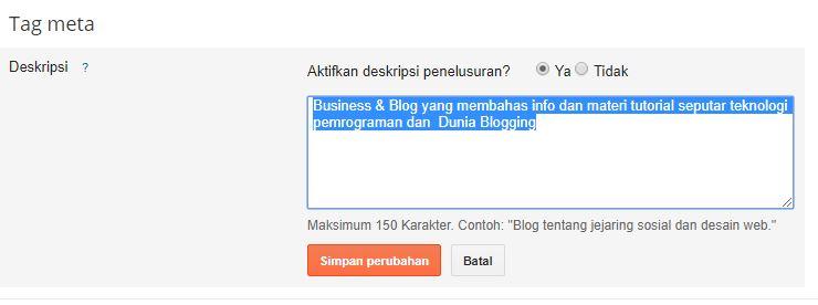 Cara Menampilkan dan Mengisi Deskripsi Penelusuran Blog SEO Friendly