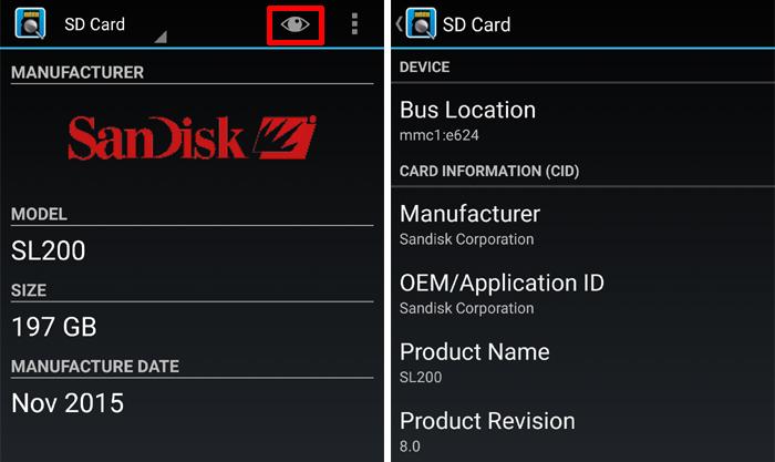 SD InsightでmicroSDの製造メーカーを調べる方法