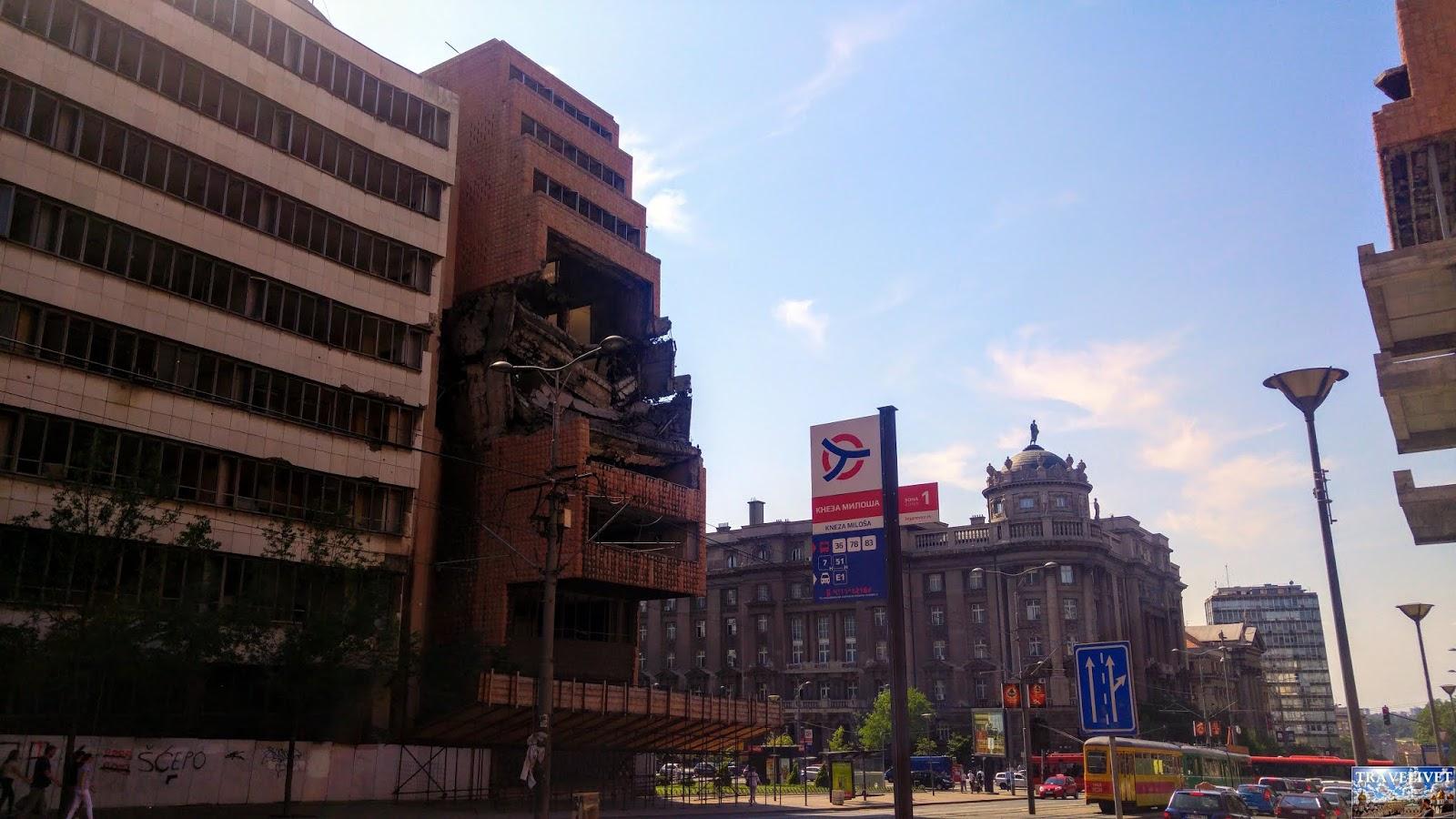 Serbie Belgrade Batiment Bombardé