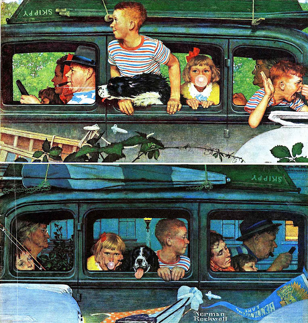 a before and after illustration by Norman Rockwell, the family car trip