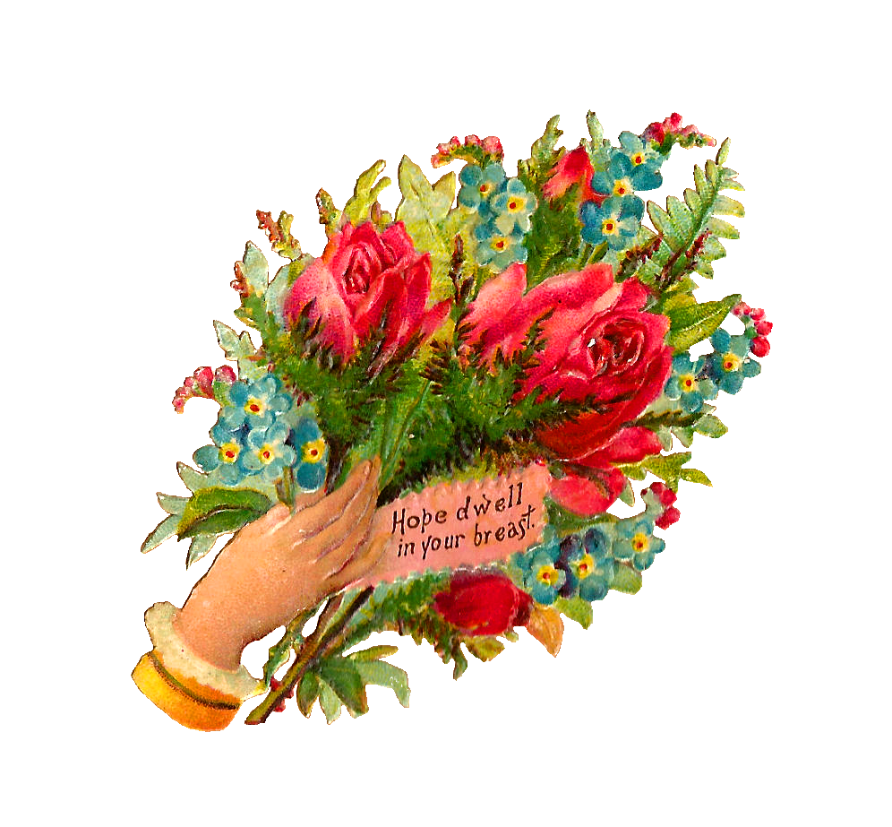 Antique Images: Free Flower Bouquet Graphic: Digital Scrap of rose ...