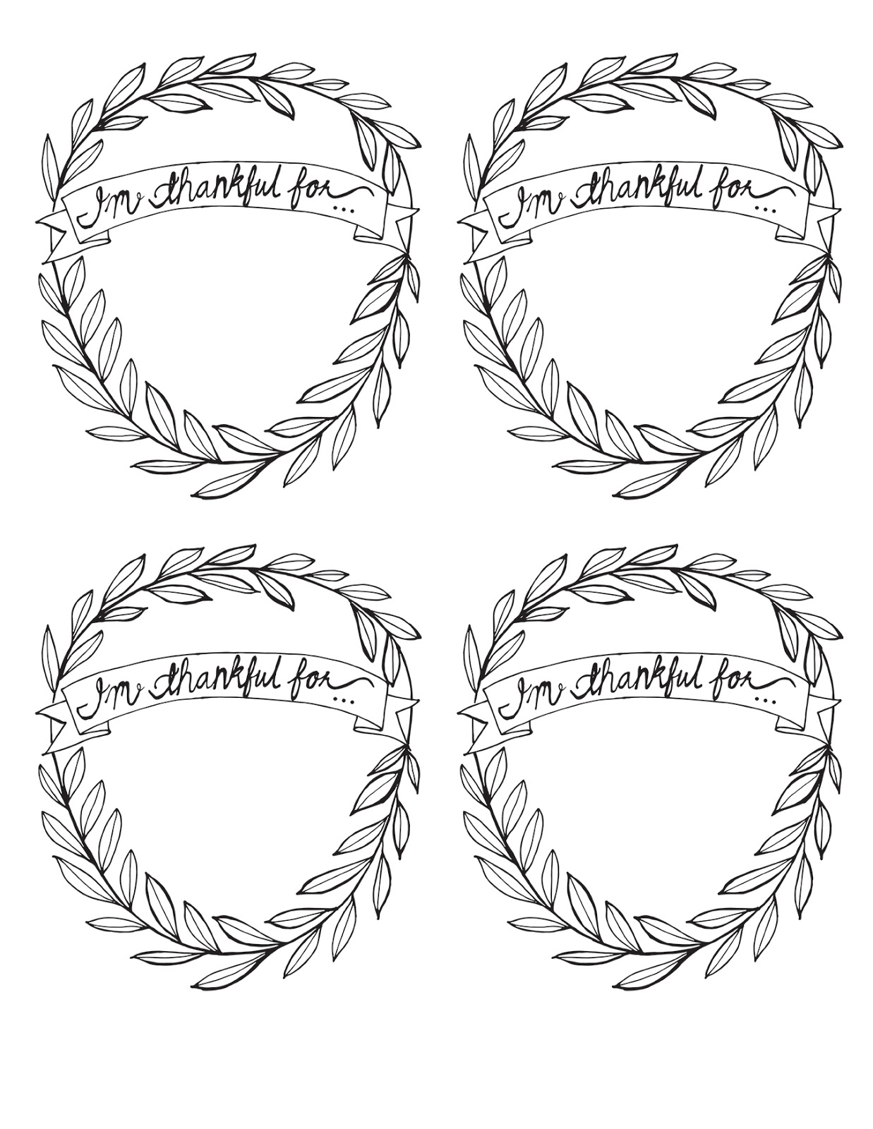 I M Thankful For Ee Thanksgiving Printable