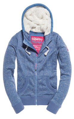 sweat bleu capuche superdry