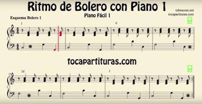 Arprende a tocar el ritmo de Bolero con la partitura de piano fácil tocapartituras.com